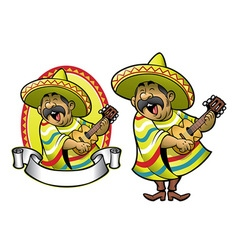 Cartoon of mexican man playing the guitar vector image