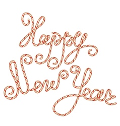 Candy happy new year lettering vector