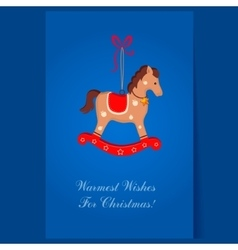 Christmas toy rocking horse greeting card with vector