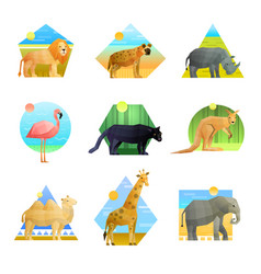 Animals polygonal emblem set vector