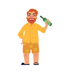 Bearded man in shorts and flip-flops drinking bear vector