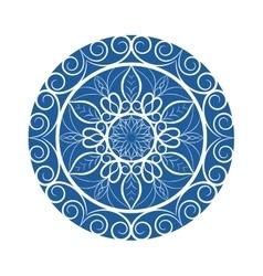 Blue flower mandala over white vector