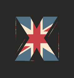 Capital 3d letter x with uk flag texture isolated vector