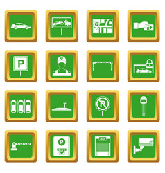 Car parking icons set green vector