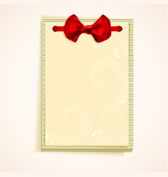 Cards notes with red bow vector image