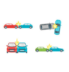 cartoon car crash road accident set vector image vector image