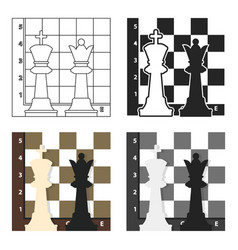 chess icon in cartoon style isolated on white vector image