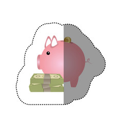colorful silhouette sticker of money box in shape vector image vector image