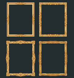 decorative vintage golden frames old shiny vector image vector image
