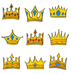 doodle of crown various style collection vector image