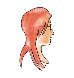 drawing profile head woman with glasses vector image vector image