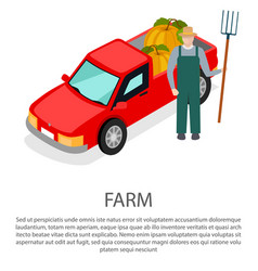 Farmer with a pitchfork in hat near pick-up car vector