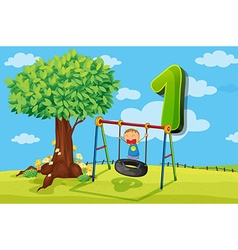 Flashcard number 1 with one children in the park vector image vector image