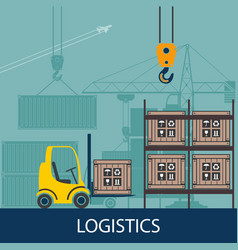 Forklifts in the warehouse vector