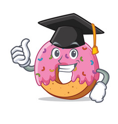 Graduation donut character cartoon style vector