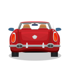 isolated red retro cabriolet with shadow vector image vector image