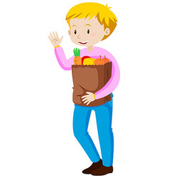 Man carrying shopping bag vector