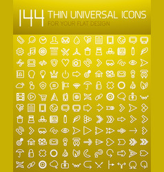 mega collection of 144 thin line flat design vector image vector image
