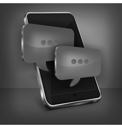 Mobile phone message on black vector image vector image
