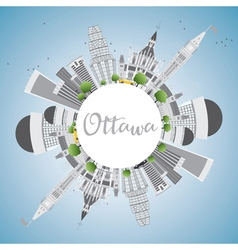 Ottawa skyline with gray buildings vector