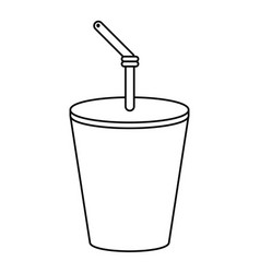 Plastic cup drink cola thin line vector