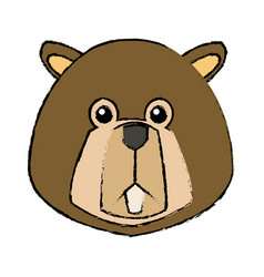 Portrait of beaver cute face of aquatic fluffy vector