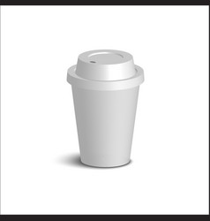 realistic paper coffee cup set white cover white vector image