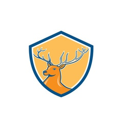 Red stag deer head shield cartoon vector