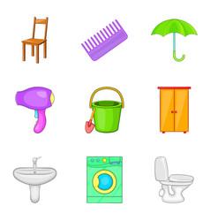 Room work icons set cartoon style vector