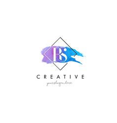 Rs artistic watercolor letter brush logo vector