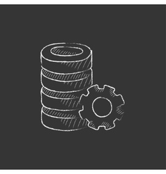 Server with gear drawn in chalk icon vector