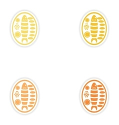 Set of paper stickers on white background fish vector