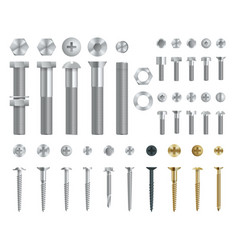 Set of steel screws bolts nuts and rivets top vector