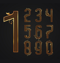 set of vintage digits from 0 to 9 vector image
