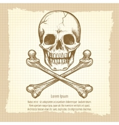 Skull crossbones and place for text vector