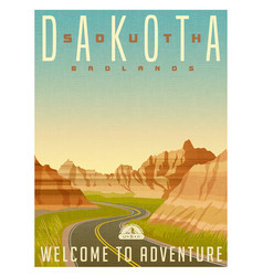 South dakota badlands national park vector