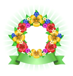 Tropical flowers wreath frame vector