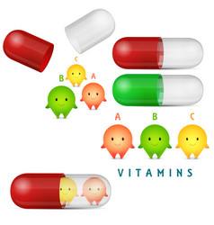 Vitamin pills and medicine capsule clipart set vector