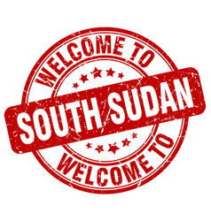 Welcome to south sudan red round vintage stamp vector