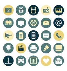 Icons plain round media vector