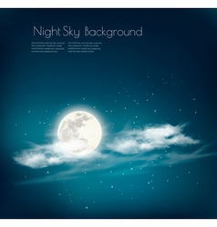 Night nature sky background with cloud and moon vector