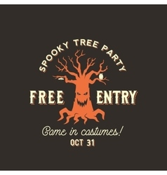 Halloween spooky tree silhouette label vector