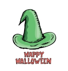 Green witch hat isolated on white vector