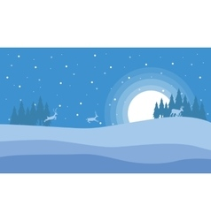 At night deer in hill scenery christmas vector