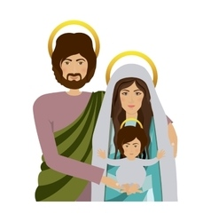 Half body picture of sacred family vector