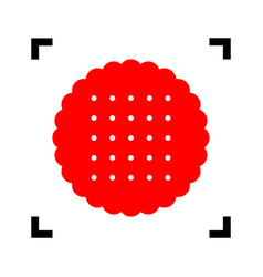 pyramid sign   red icon inside vector image