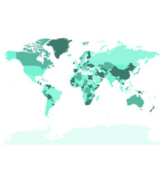 World map in four shades of turquoise on white vector