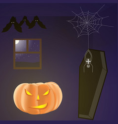 Halloween dark room with pumpkin bats spider and vector