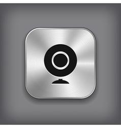 Webcamera icon - metal app button vector image