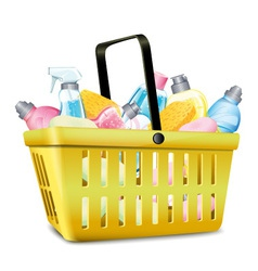 Basket with detergent vector